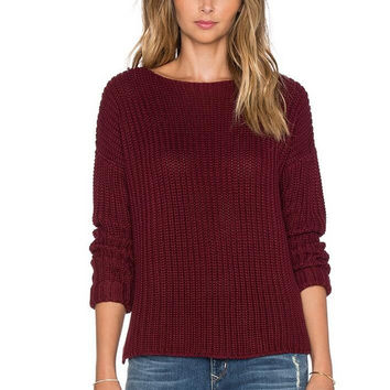 Red Wine Long Sleeve Knitted Sweater