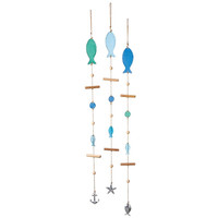 Sea Glass Fish Wind Chimes with Nautical Tin Ornaments - Set of 3