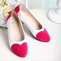 Lovely peach heart flat shoes