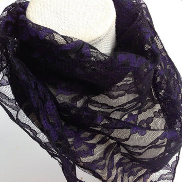 Black Purple Lace scarf/Lightweight lace church headscarf/Gift for Grandmother, Boss Coworker/ Birthday gift/ Womens triangle cowl neckwear