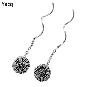 YACQ 925 Sterling Silver Sunflower Dangle Earrings Birthday Hiphop Biker Jewelry Gifts Women Girlfriend Her ping CE67