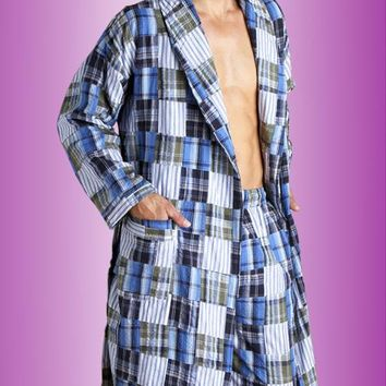 Lounge Pants - Men's Blue Plaid Cotton Patchwork (2X)