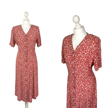 90's Ditsy Dress | Red And White Floral 1990's Midi Dress | Button Down Summer Dress | Grunge / Granny / Tea Dress