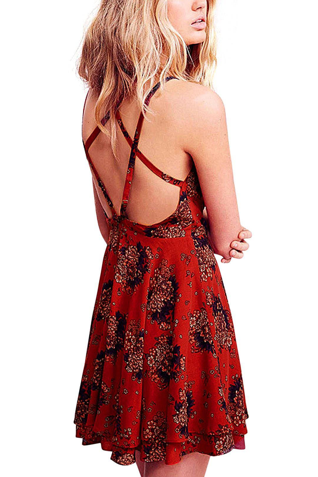 d3f7280ee86 Red Floral Print Layer Strappy Back Cami from Young   Free