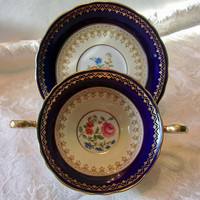 Aynsley Hatfield Cobalt Blue Flat Cream Soup Bowl & Saucer Lusterware Antique Set