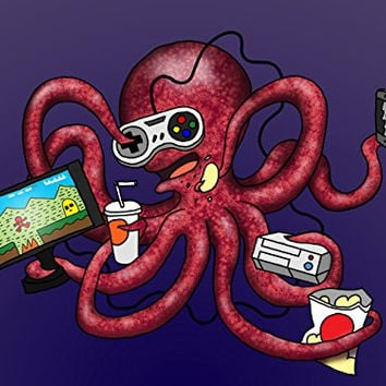 'More Tentacles to Party Octovideo' Funny Octopus Playing Video Games 24x18 - Vinyl Print Poster