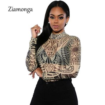 2016 Summer Women Sexy Tribal Tattoo Print Bodysuit Jumpsuit Traditional African Clothing Mesh Lace Retro Bodysuit Romper S2552