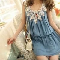 Lace Leaves Crocheted Collar Jumper Style Dress