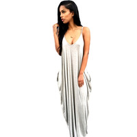 Pockets Draped Backless Spaghetti Straps Deep V-neck Casual Maxi Dress
