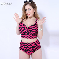 HAIZI New two piece tankinis set geometric women swimwear swimsuit high waist vintage patchwork large bust bra EF CUP 6838