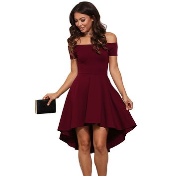 2017 Summer Fashion Plus Size Women Party Dresses Off Shoulder Lovely Style All The Rage Skater Dress LC61346 Mono Mujer Corto