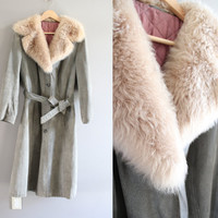Glamorous FOX fur collar vintage 70s minimalist grey suede leather long coat boho size m - l