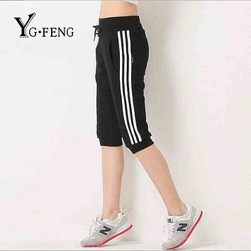 YGFENG 4 Colors Casual Women Capris Pants Fitness Workout Harem Pants Side Stripes Drawstring With Pocket Sportswear Pants