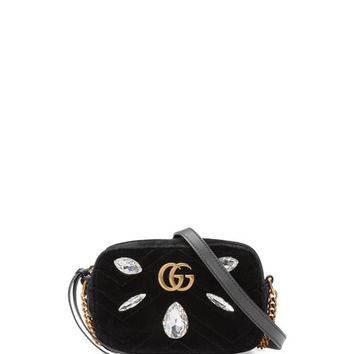 Gucci GG Marmont Mini Matelassé Velvet Camera Bag