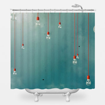 Red Edison Shower Curtain