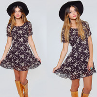 Vintage 90s FLORAL Mini Dress Black Flower Print Ruffle REVIVAL Boho Mini Dress