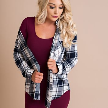 Brandon Flannel (Navy/Burgundy)