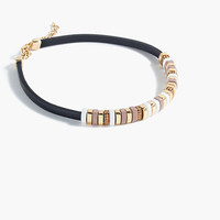 J.Crew Womens Leather Cord Pavé Ring Collar Necklace