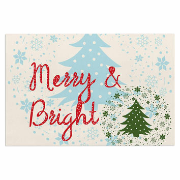 "Famenxt ""Merry And Bright"" Holiday Typography Decorative Door Mat"