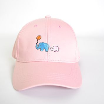 Cute Elephant Embroidery Cotton Baseball Cap Hat- Pink