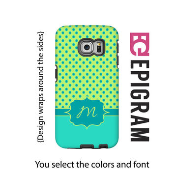 Monogram Samsung Galxy S6 Edge case, lime and aqua Galaxy S6 case, polka dot Galaxy S5 case, Galaxy S4 case, tough case Galaxy S6, 3D wrap