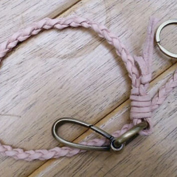 personalized woven vegetable leather key lanyard natural