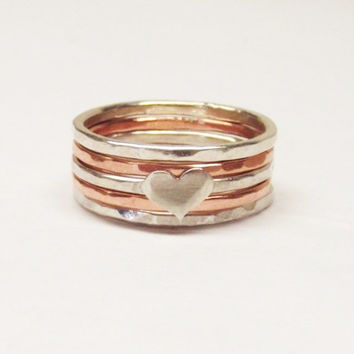 Stackable Sterling Silver and Copper Hammered Mixed Metal Handcrafted Ring Set with Heart - Set of 5 - Oh My Metals