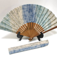 Vintage Japanese Hand Fabric Fan with Pouch.