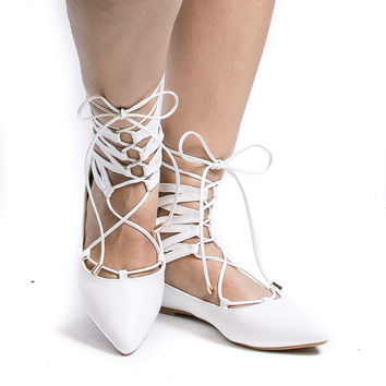 Ryann4 White Pu By Forever, Pointy Toe Cut Out Ankle Cuff Lace Up Leg Wrap Ballet Flats