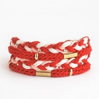 Red wrap bracelet, cord bracelet, knit bracelet, braid bracelet, cotton bracelet, red bracelet