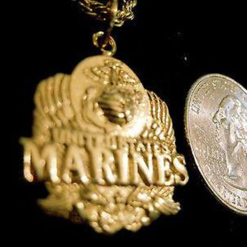 bling gold plated marine usmc pendant charm chain hip hop necklace jewelry fort