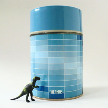 Vintage Blue Geometric King-Seeley Thermos Bottle -- Coffee Tea Camping Picnic Lunch Soup Insulated 10 oz.