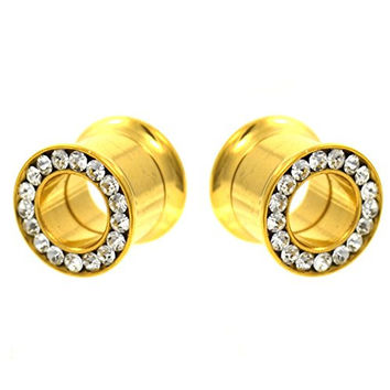 Pair (2) Gold IP Plated Clear CZ Gem Paved Rim Ear Plugs Tunnels Screw Gauges - 0G (8mm)