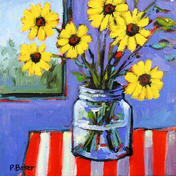 Yellow Daisies Stll Life Painting by Patty Baker