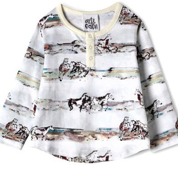 Cotton Henri Horses Top - baby 3 mo. to 24 mo.