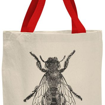 Austin Ink Apparel Bee Illustration Contrast Cotton Canvas Tote Bag
