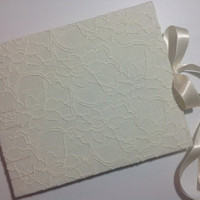 Floral Cream Lace Wedding Guest Book - Handmade Coptic Stitched - Ready to ship