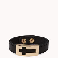 Faux Leather Cross Cuff