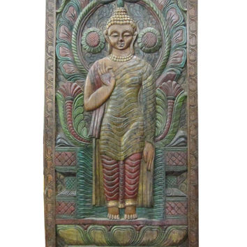 Mogulinterior Standing Buddha Abhaya Mudravintage Doors Hand Carved Wood Sculpture India 72 X 36 Inches