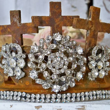 Hand made crown metal and tons of rhinestones for statues home decor French Santos style Anita Spero