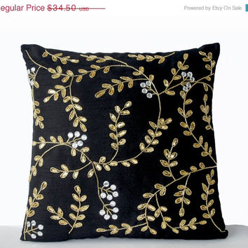 Valentine SALE Black Couch Pillows -Black Accent Pillow -Black Gold Pillows -Leaf Pillows -Sequin Pillow Covers -Gift -18x18 -Accent Pillows