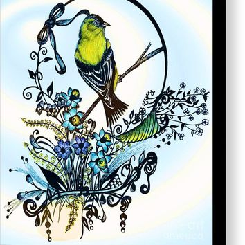 Pen And Ink Art, Colorful Goldfinch, Watercolor And Digital Art, Wall Art, Home Decor Design Canvas Print