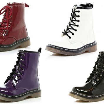 GIRLS CHUNKY PATENT MARTEN STYLE FASHION ANKLE LACE UP COMBAT BOOTS KIDS SZ 10-2