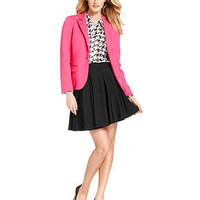 INC International Concepts Petite Blazer, Houndstooth-Check Shirt & Paneled Swing Skirt - Women - Macy's