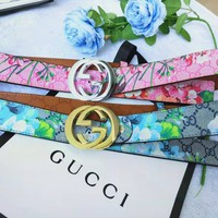 GUCCI Newest Woman Men Flower Print Double G Letter Smooth Buckle Belt Leather Belt