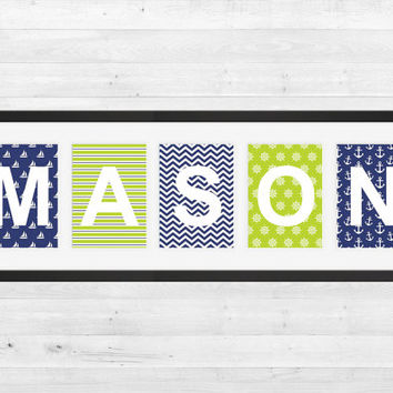 Personalized Nursery Letters, Custom Decor Prints, Navy and Lime Green Nautical, Boy Name Prints, Custom Name Art, Nursery Decor, 8x10