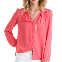 BUTTON UP LONG SLEEVE BLOUSE - CORAL PINK