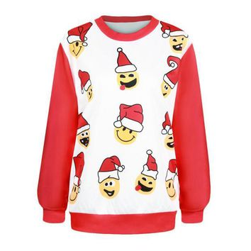 PEAPIX3 Women's Fashion Christmas Hot Sale Hats Print Ugly Christmas Sweater Hoodies [9440720132]