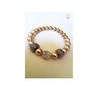 Cream and Gold Effect Bead Stretch Bracelet b - British (UK) Jewellery Designer