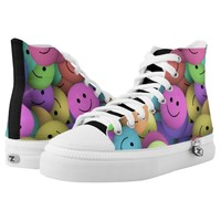 Colorful Smileys Design Printed Shoes